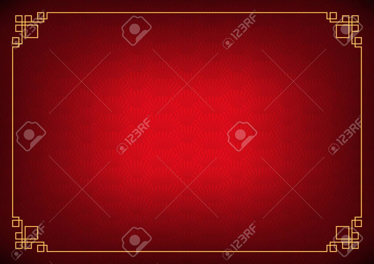 chinese new year background with yellow border abstract oriental wallpaper with decoration frame red