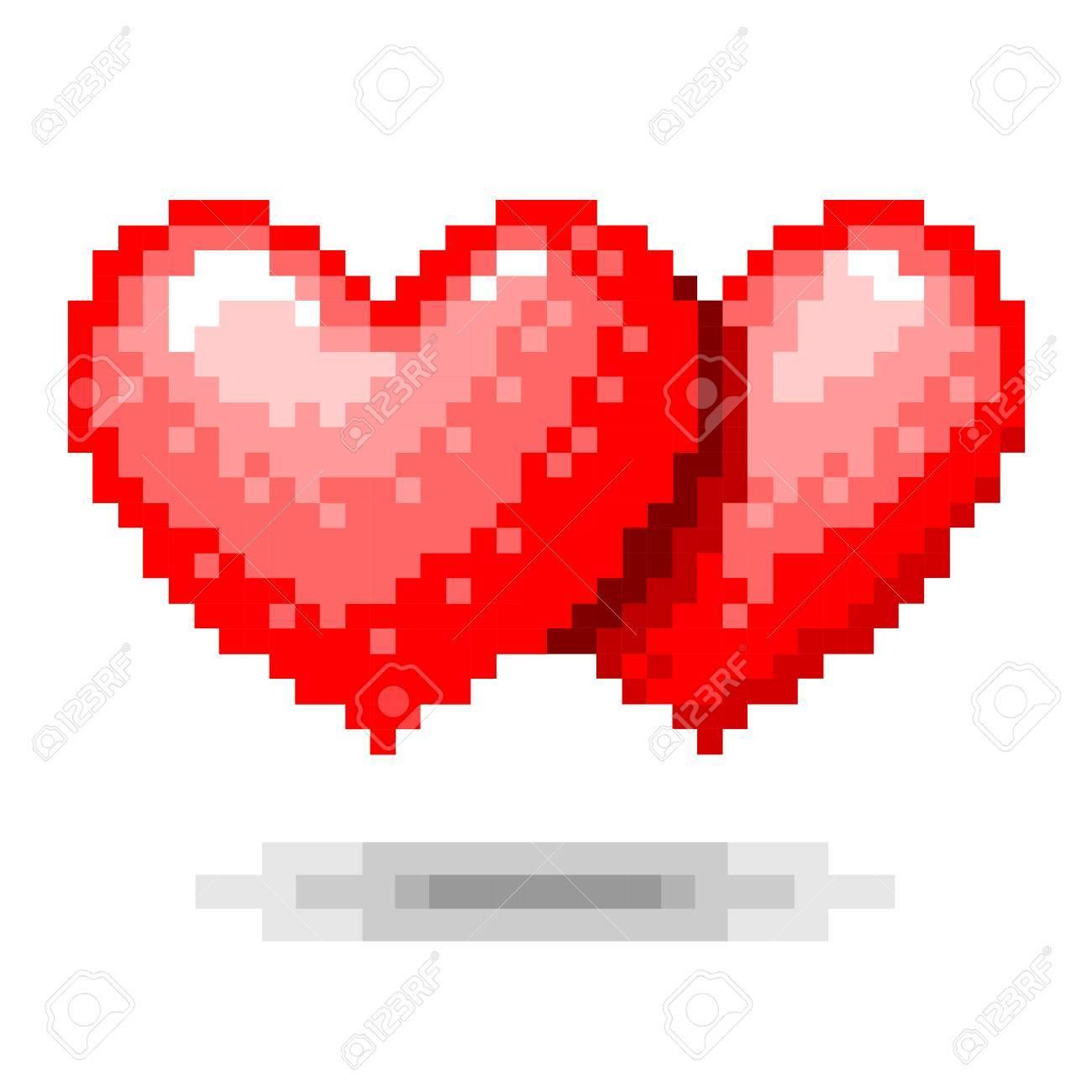Concept De Pixels à Double Coeur