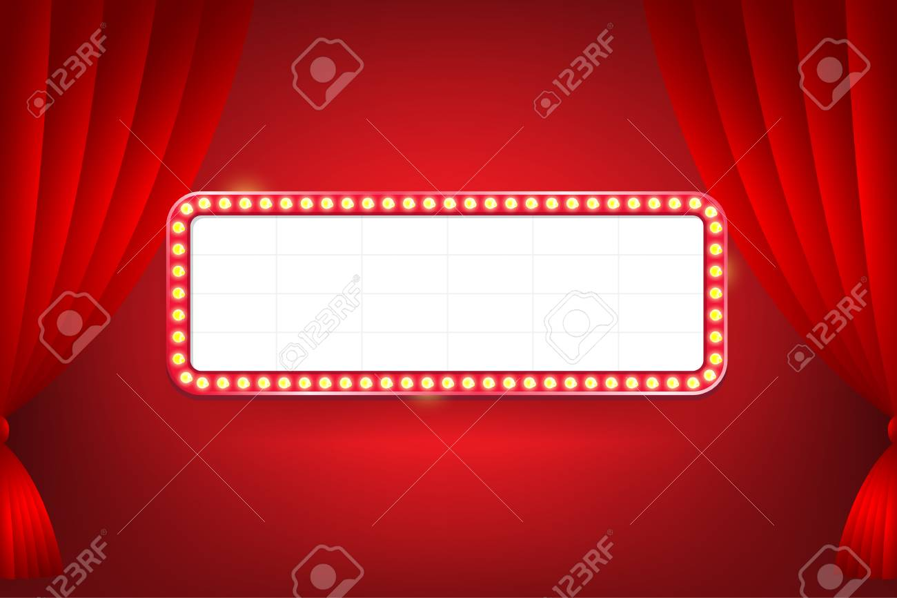 Red Curtain Backdrop With Vintage Electric Bulbs Billboard For Text Vector Illustration Stock