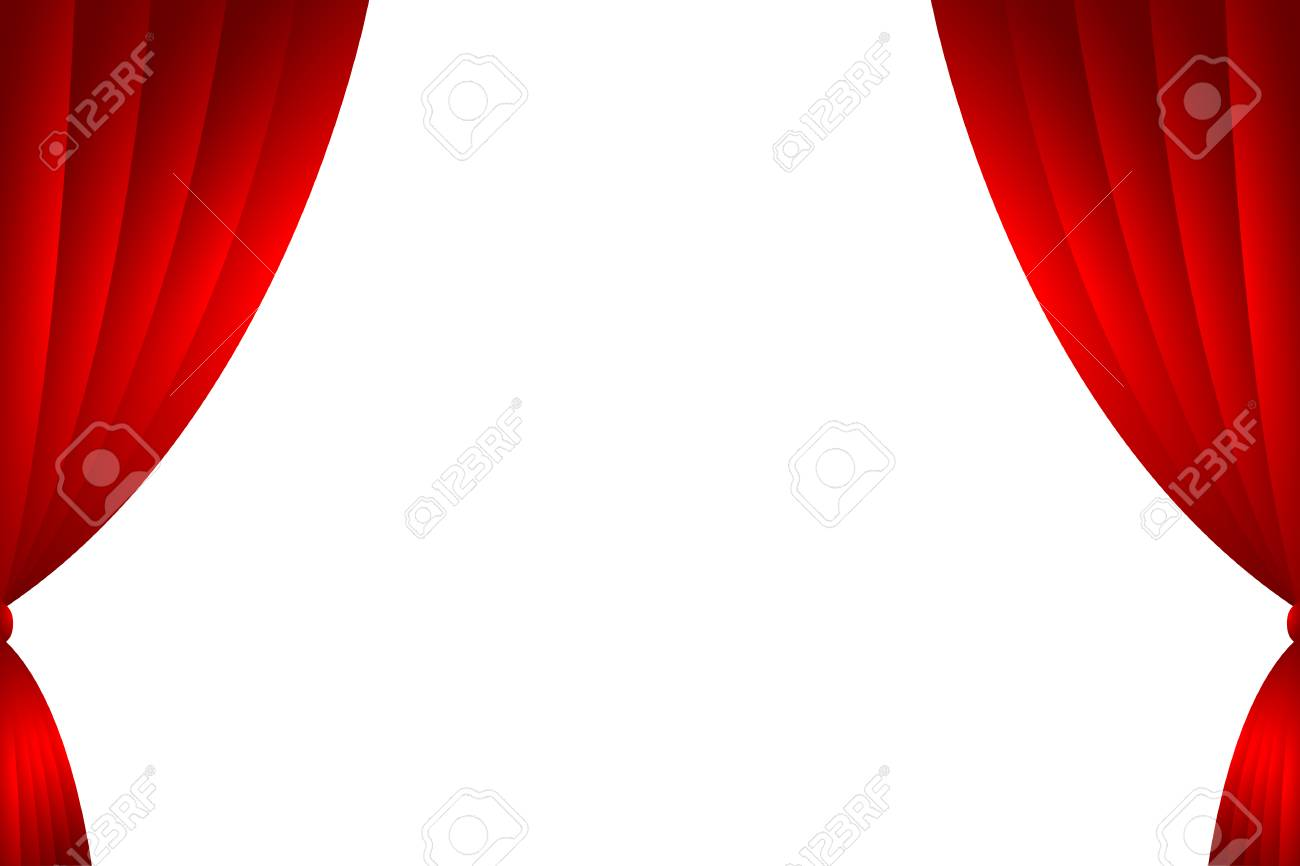 Red Curtain Backdrop Isolate Vector Illustration Stock