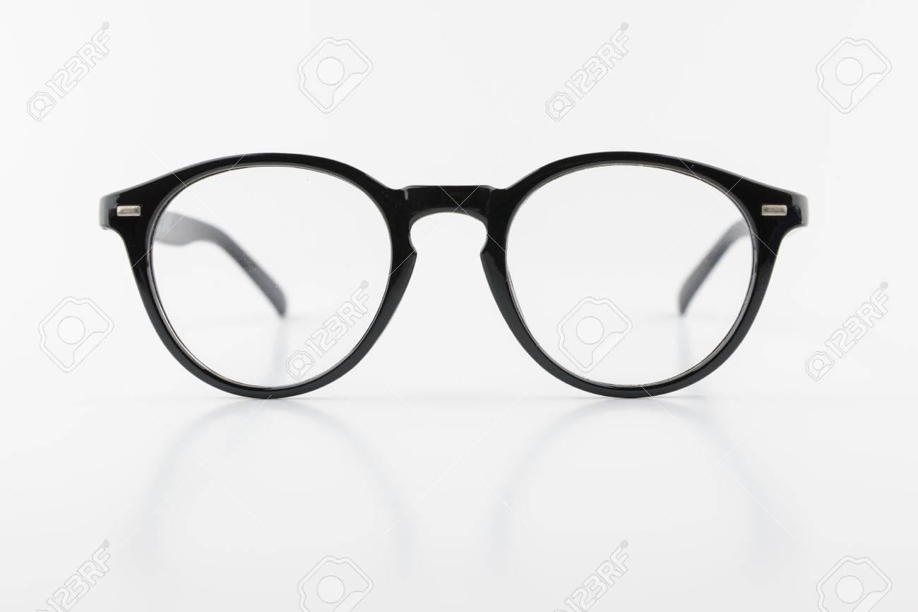 Black Round Frame Of Eyeglasses, Vintage Look, Isolated White ...