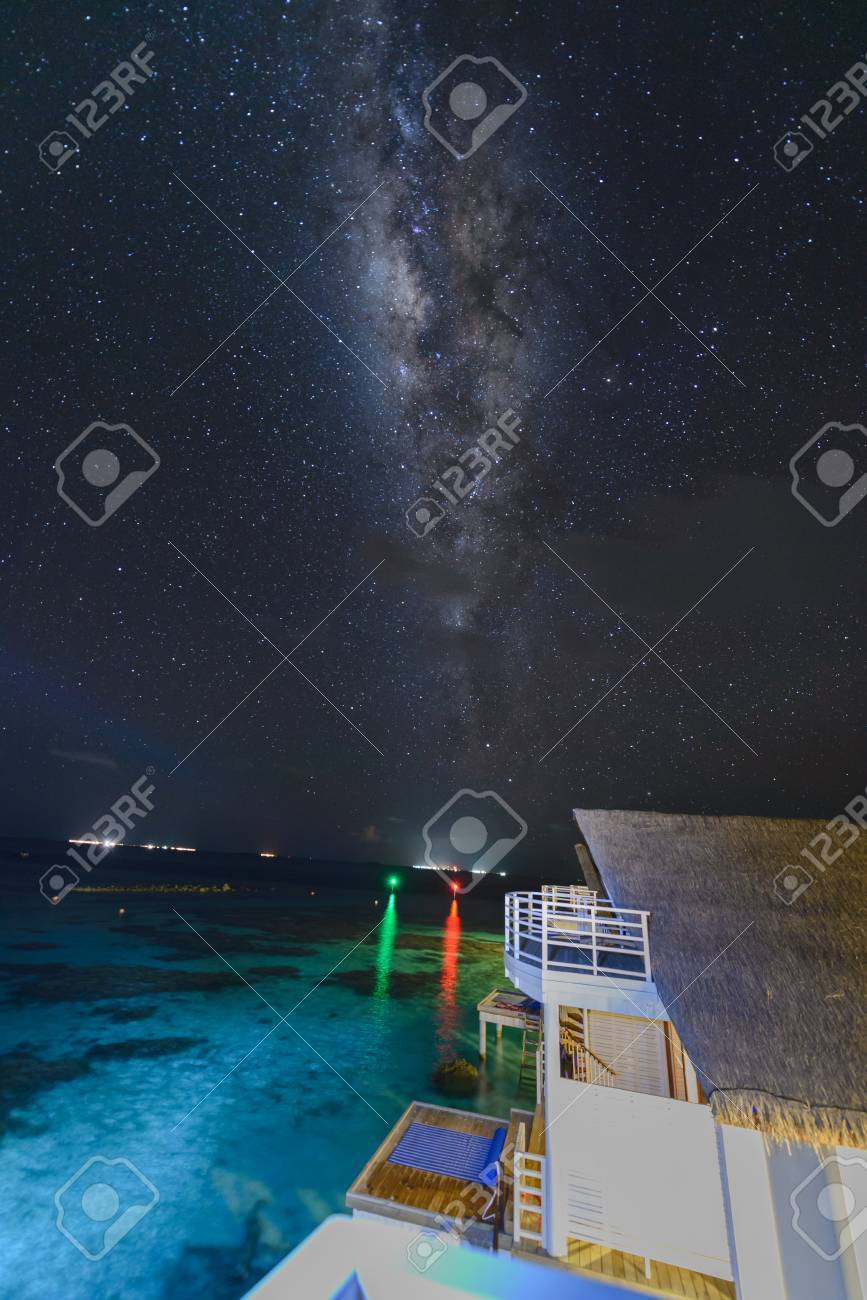 milky way and million stars over Maldives night sky, Indian ocean