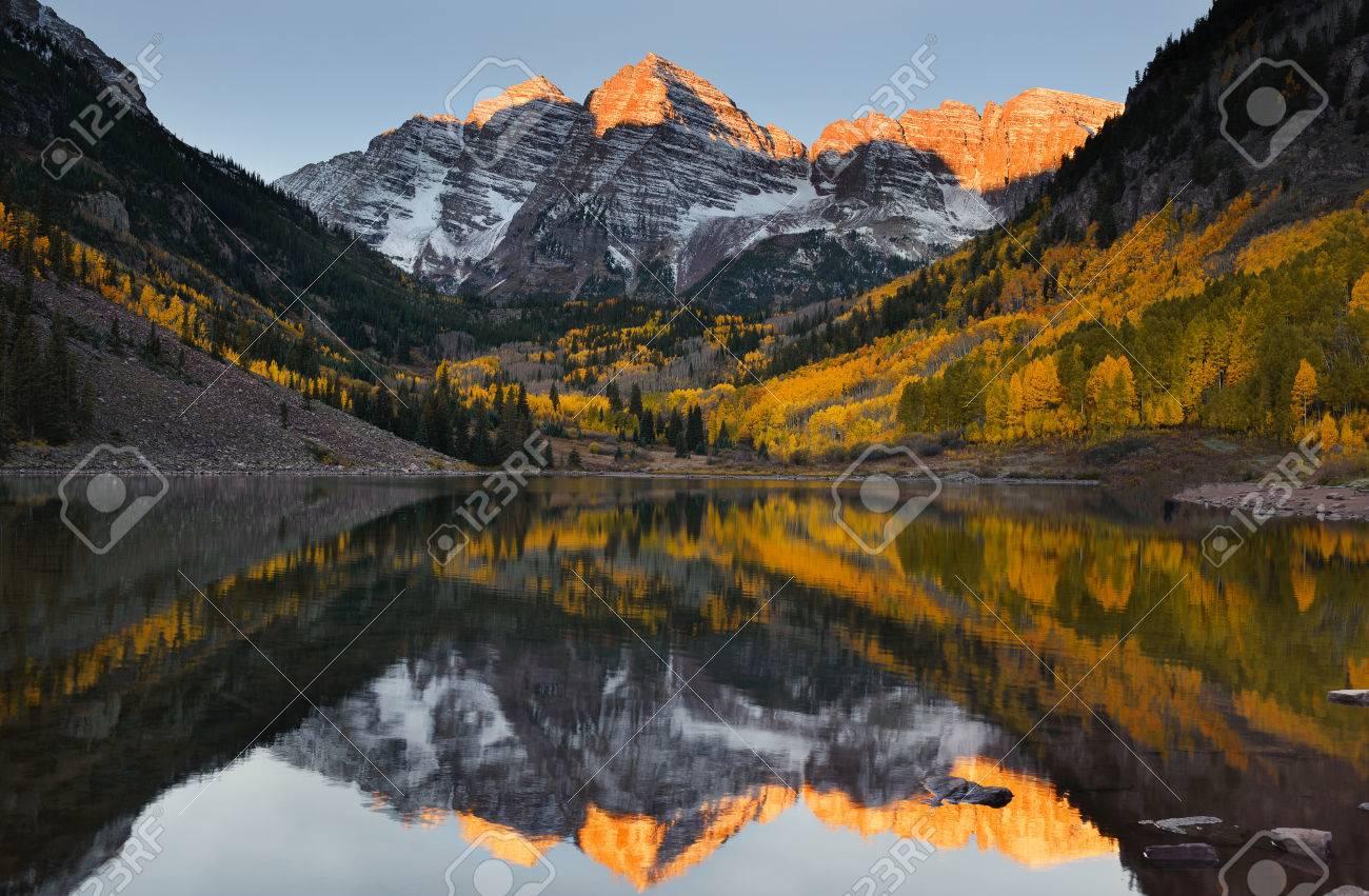 Beautiful Sunrise Touches Maroon Bells Peak At Maroon Lake Aspen