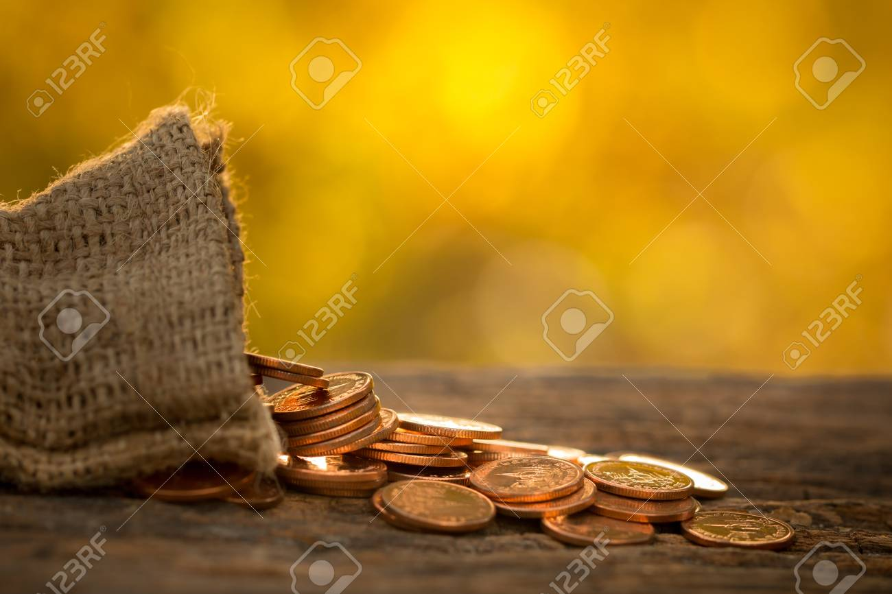 Growing money coins stack with sunset, Saving concept, wealth. - 90855220