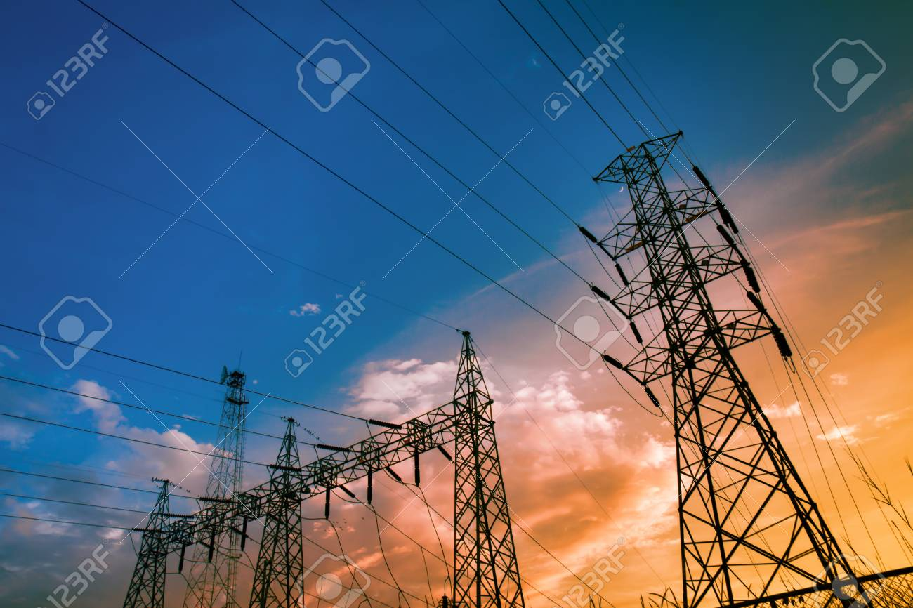 Electricity power station,Power distribution system to sunset