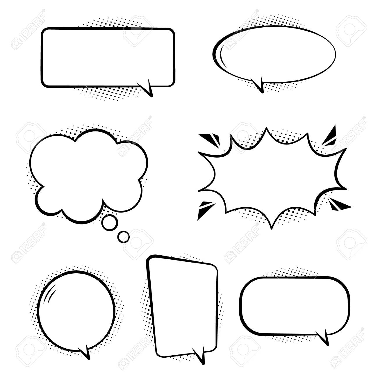 Set of comic speech bubbles. Retro empty bubbles with black halftone shadows on transparent background. Effects in pop art style. White set bubbles for talk and message. Isolated fun balloons. Vector. - 146835024