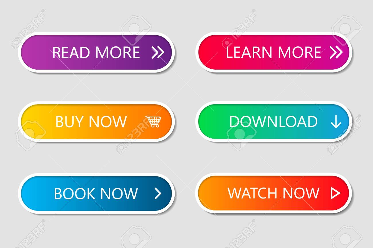 Set of modern web buttons. Navigation button menu with gradient on white forms with shadows. Web action elements for game, call, buy, learn, read and download. Trendy style. UI graphic for app. Vector - 147333010