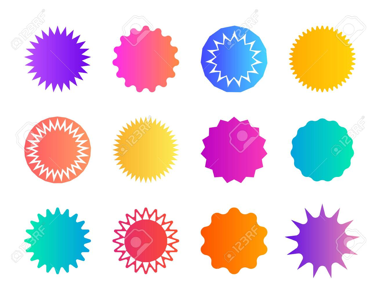 Price sticker. Promo badge starburst. Shape of star for callout, label. Round icons for sale. Circles for button, tag. Zigzag edge on promotion banner. Gradient color coupon. Speech balloons. Vector. - 152647916