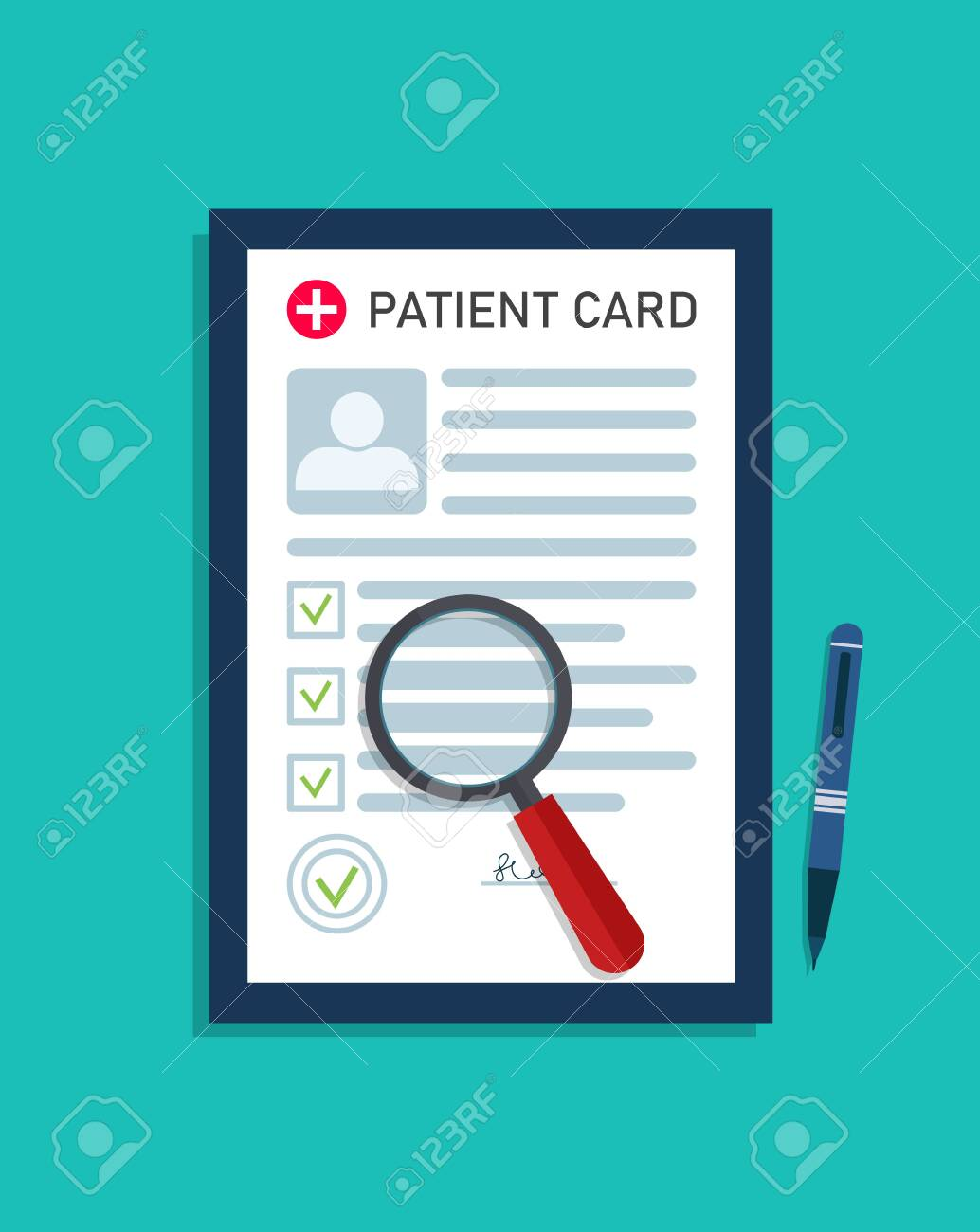 Patient medical card. Report about health. Record in document from doctor. Medic investigation in hospital. Medical form with profile, data of diagnosis and prescription. Medicine icon. Vector. - 154395981