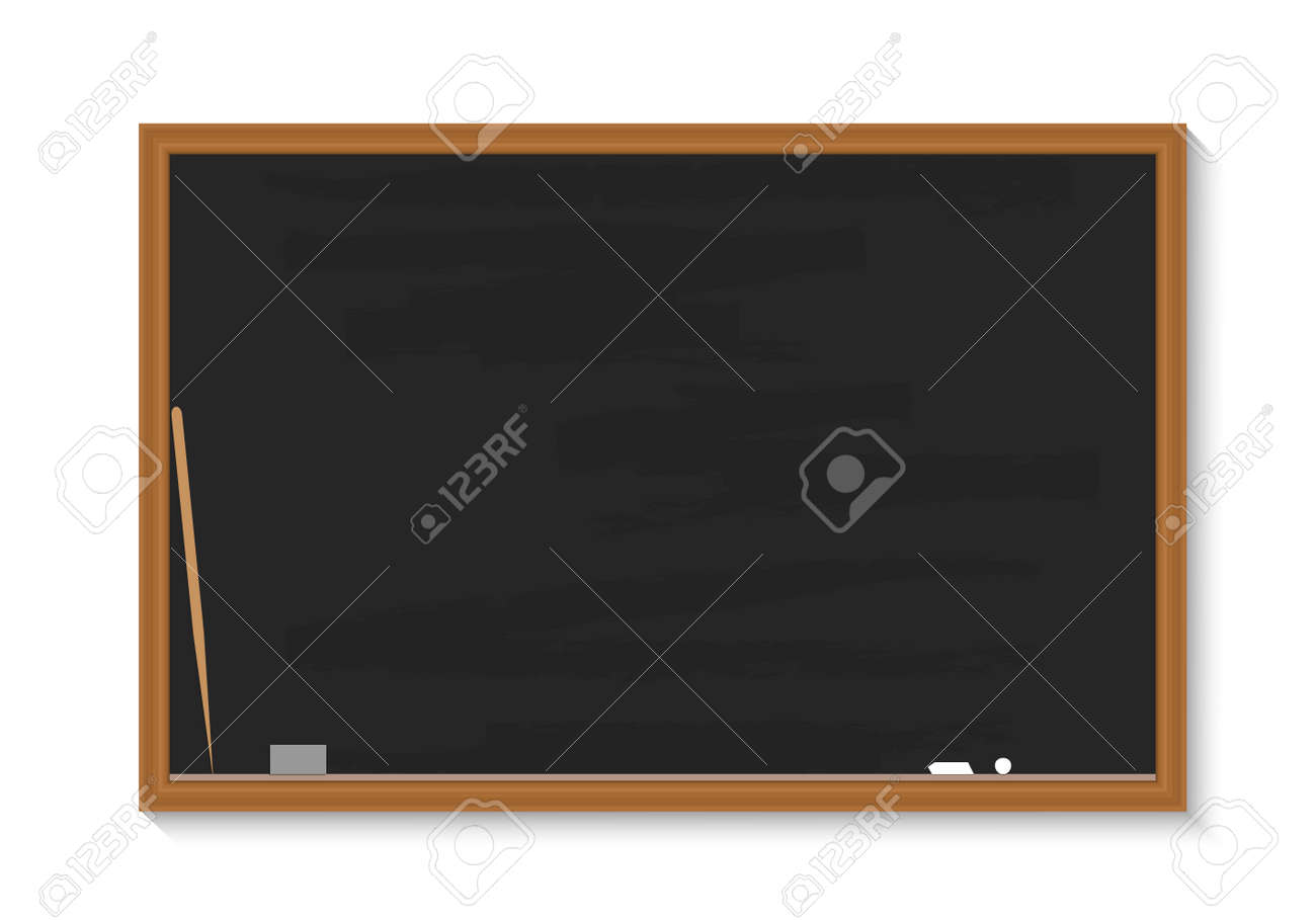 School blackboard. Chalkboard with chalk, pointer, sponge. Black board with wood frame for classroom. Blank wooden texture isolated on white background. Banner for class, teacher, university. Vector. - 168334456