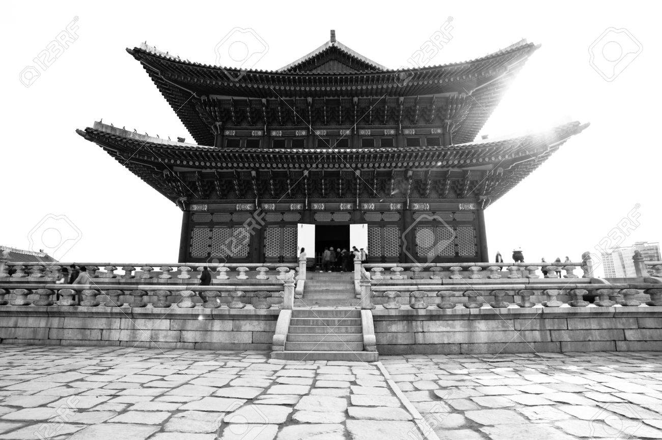 Black white kyongbok palace korea beautiful landscape stock photo 12877962
