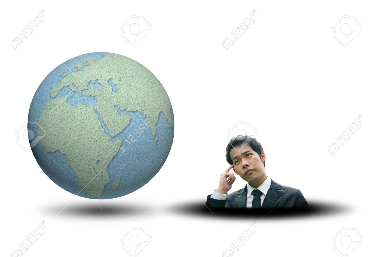 World map and earth globes by cork board with business man thinking on white isolate background Stock Photo - 13506933