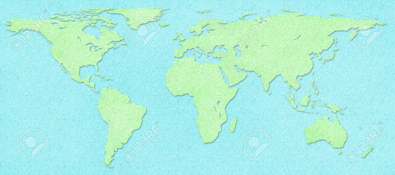 Green World Map On Blue Cork Board Background Stock Photo Picture