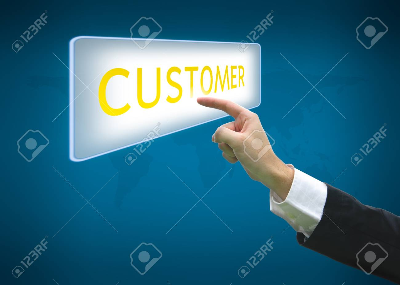 Business hand pointing customer word on button with world map background Stock Photo - 13604463