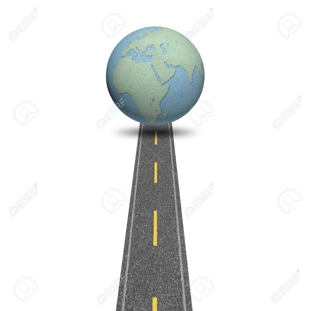 Concept globes road story on white isolate background Stock Photo - 13633478