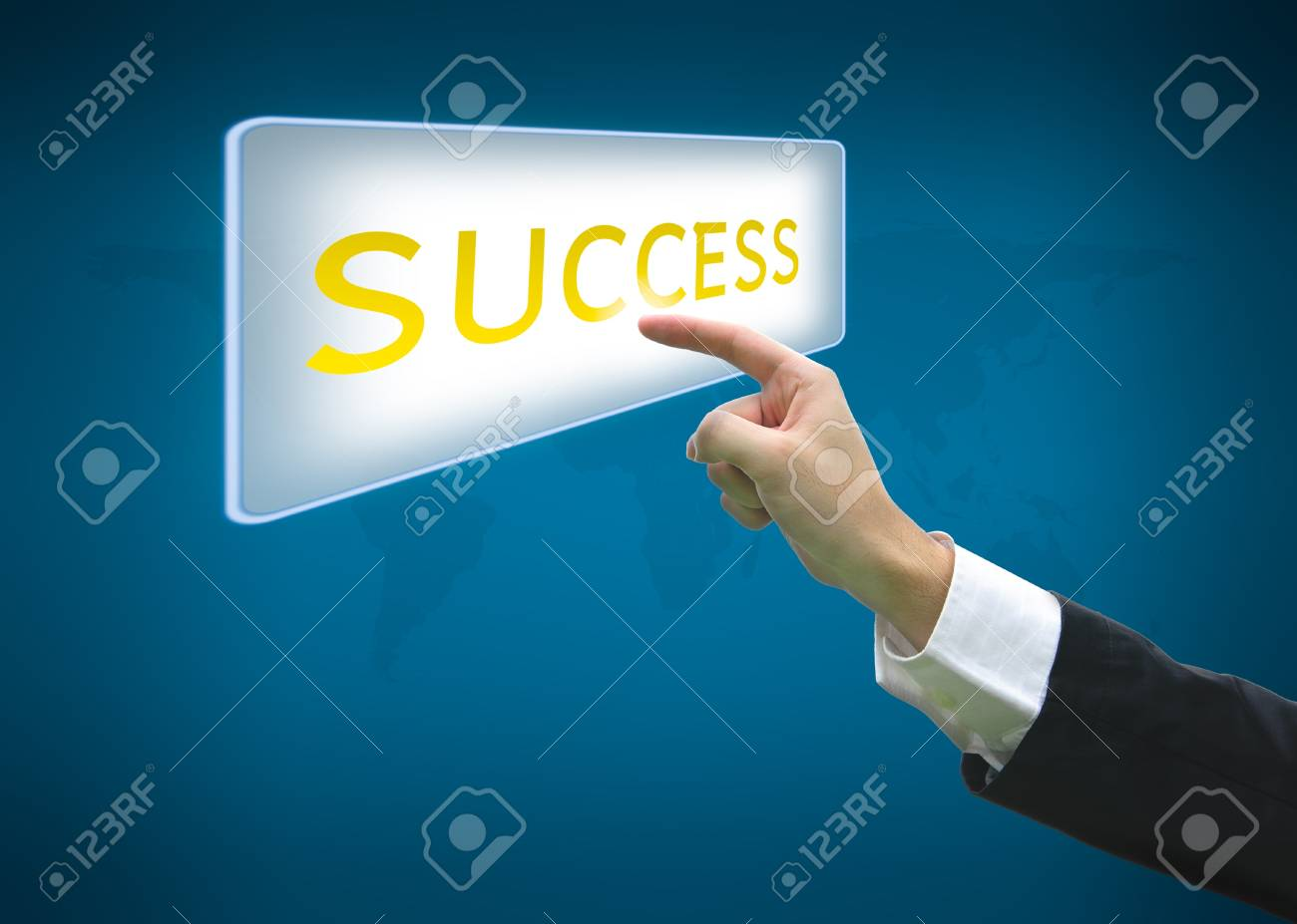 Business hand pointing success word on button with world map background Stock Photo - 13798459