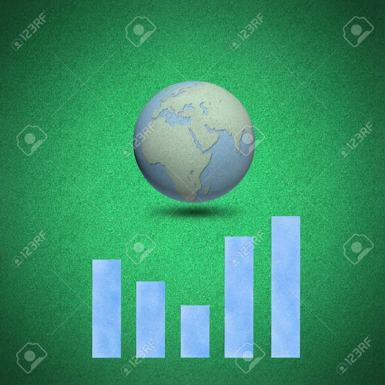 Graph chart globes concept on green background by cork board Stock Photo - 13798829