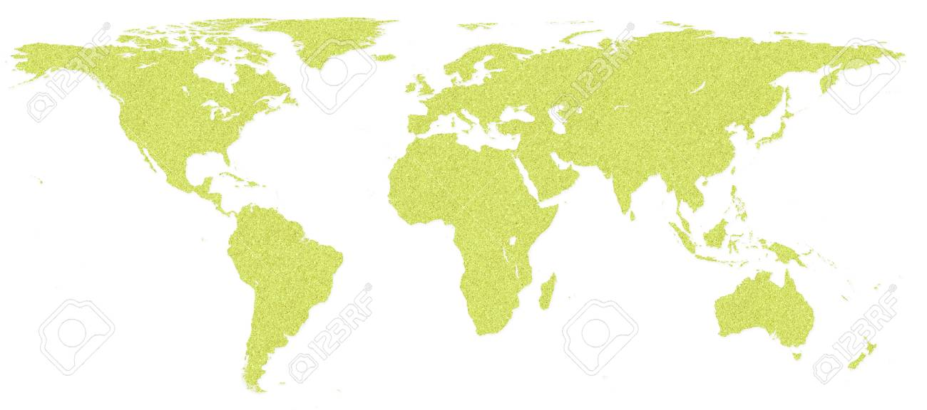 World map by cork board on white isolate background