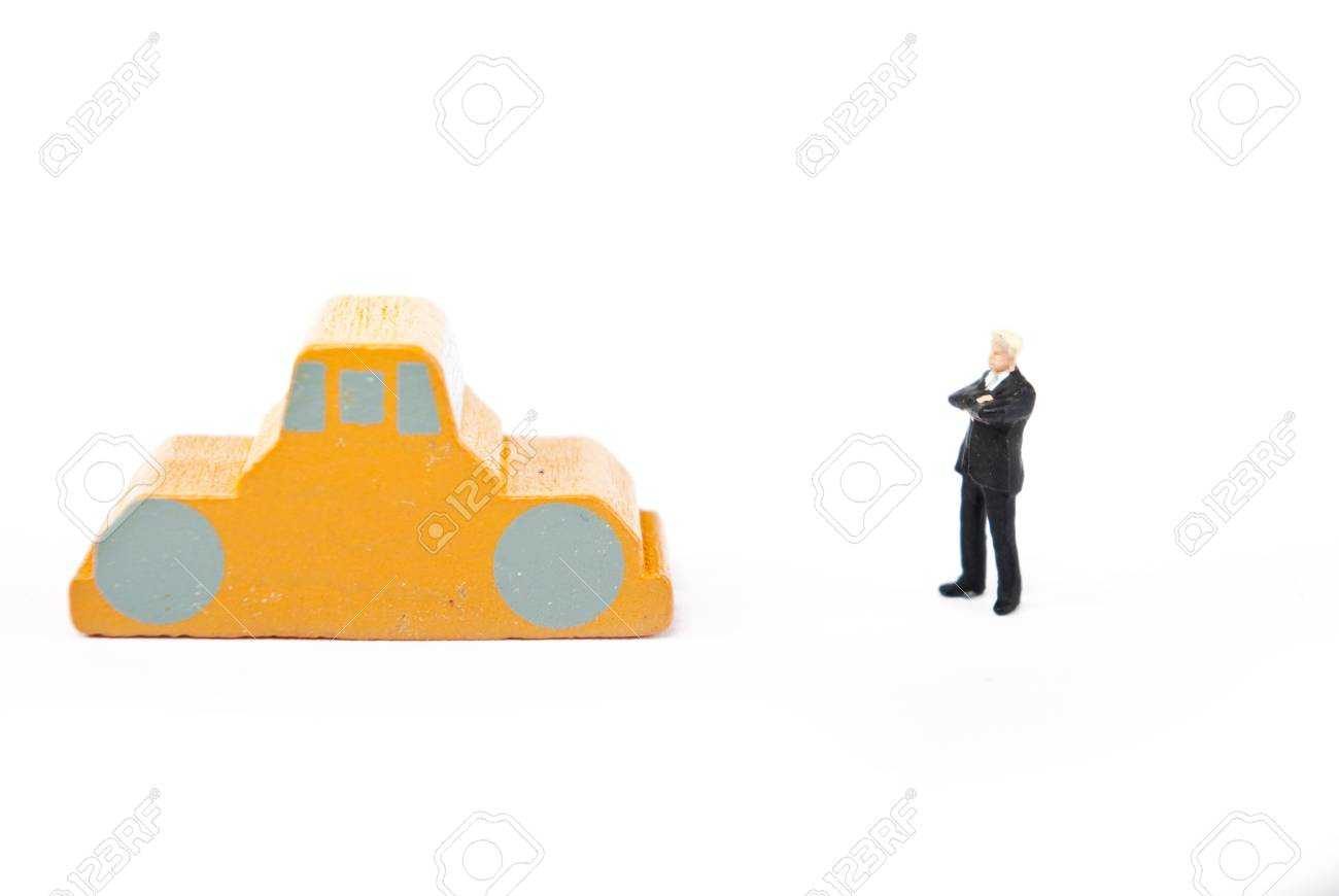 one man on car on white Stock Photo - 9496913