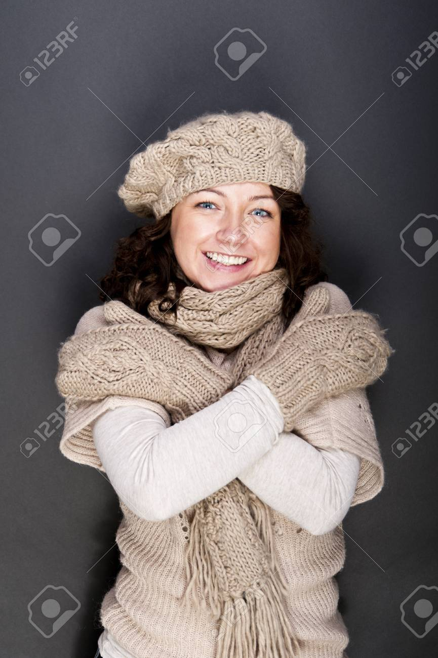 woman smiling with hat and gloves on her Stock Photo - 12206495