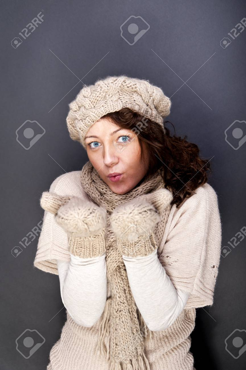 woman smiling with hat and gloves on her Stock Photo - 12206499