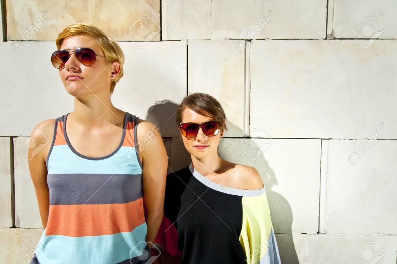 Two  beautiful woman with sunglasses Stock Photo - 16375048