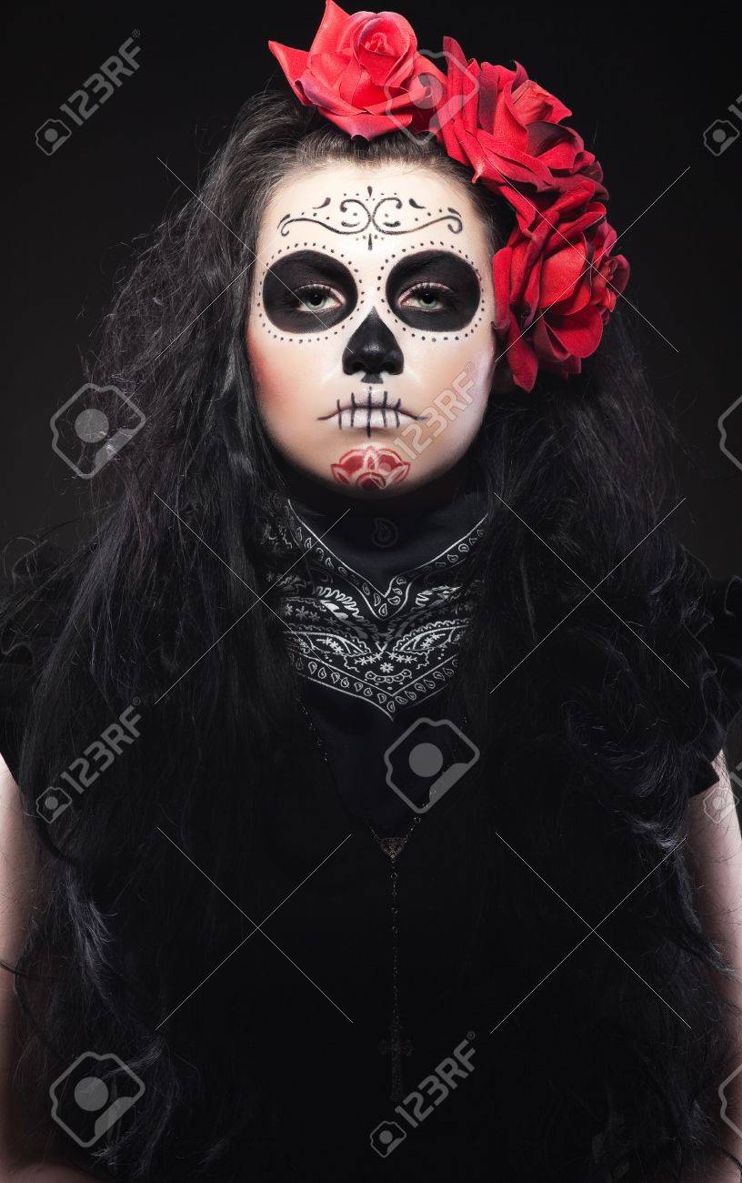 Serious Woman In Day Of The Skull Mask Stock Photo, Picture And ...
