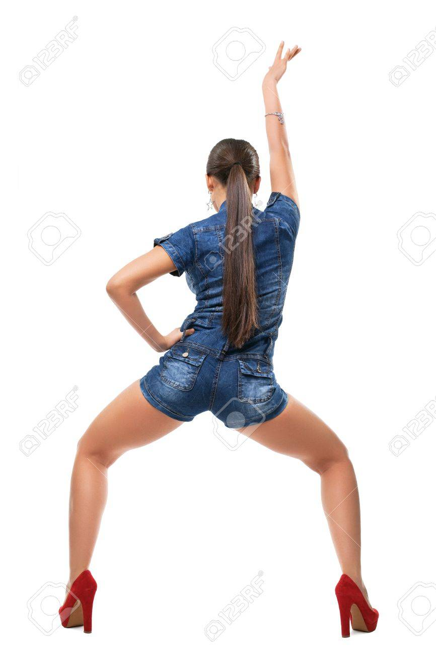 Young Girl Dance Rnb Style In Sexy Jeans Jacket Isolated Stock ...
