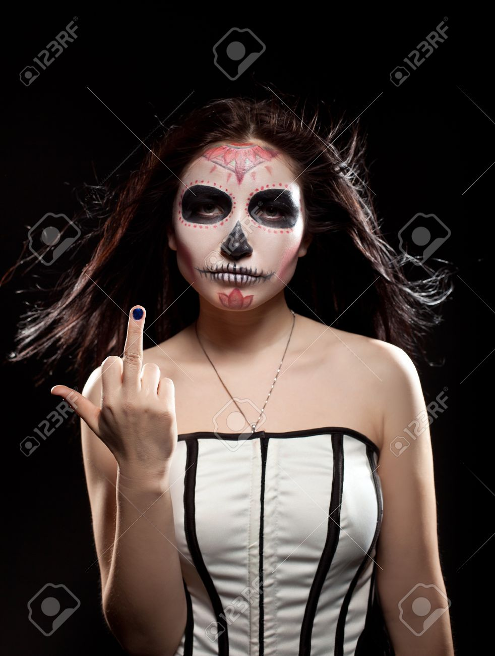 Serious Woman In Day Of The Dead Mask Skull Face Art Look Aside ...