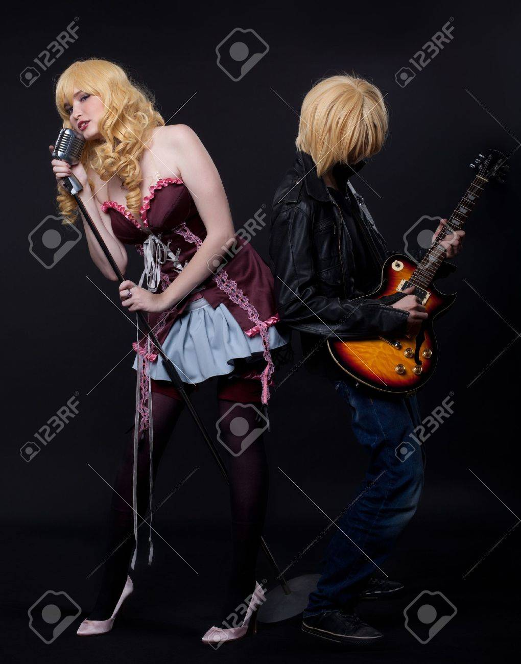 Couple Of Musician Anime Cosplay Character Young Stock Photo