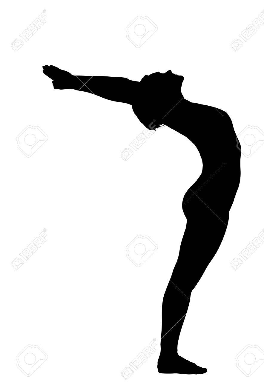 young woman training in yoga - urdhva hastanasana stand pose isolated Stock Vector - 12638648