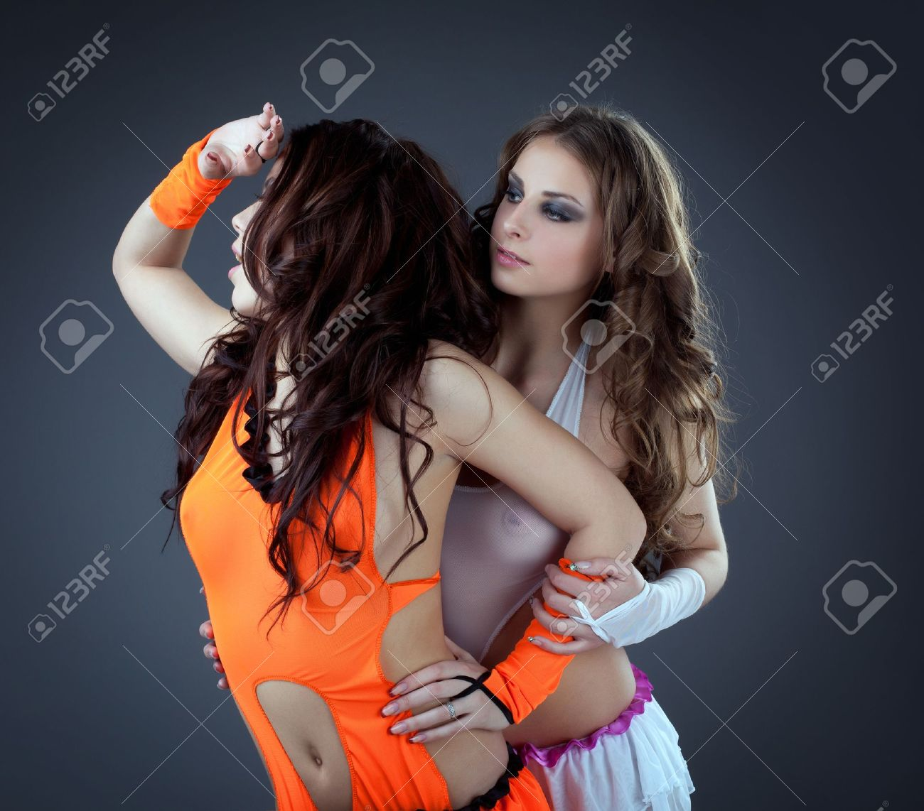 Beauty couple of sexy girl - go-go dancers Stock Photo - 13169021