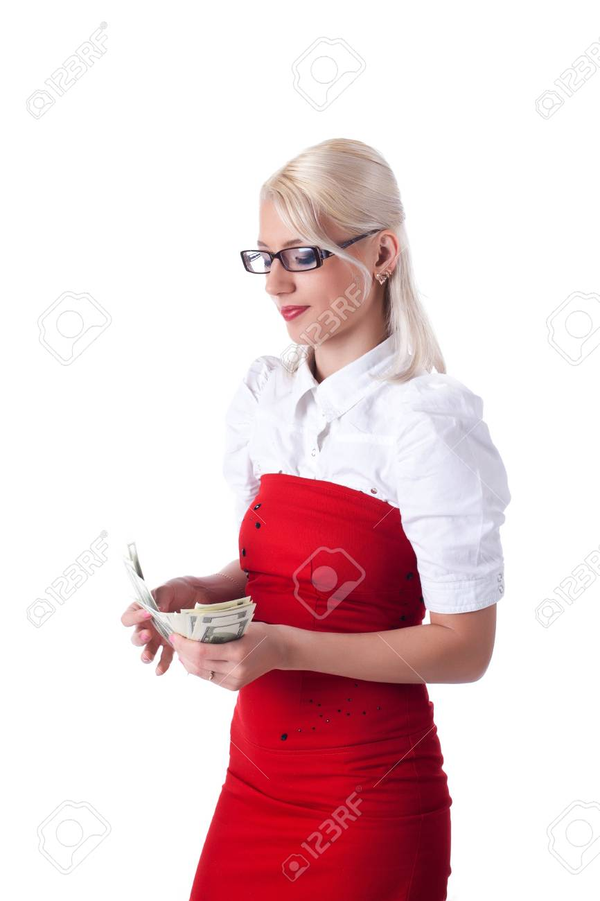 Beauty blond  business woman count money isolated Stock Photo - 13254864