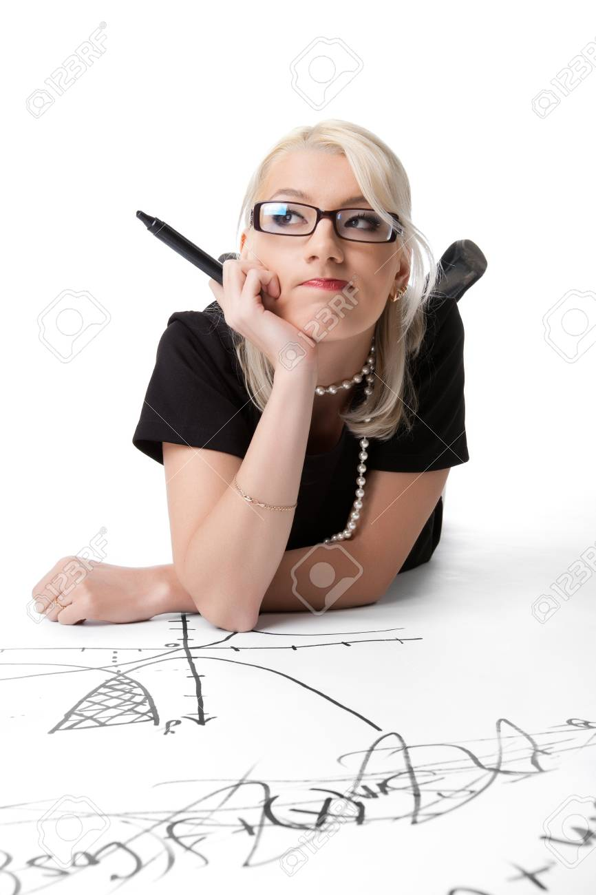 Beauty woman thnk above formula and graph isolated Stock Photo - 13254863