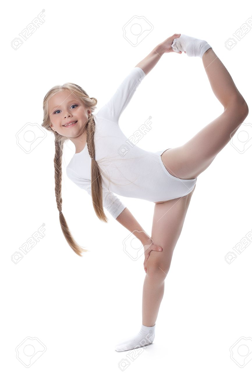 Full length portrait of kid gymnast Isolated on white - 14902755