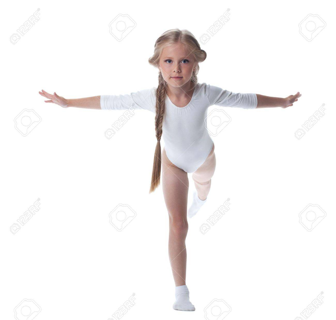 Full length portrait of kid gymnast Isolated on white - 14902754