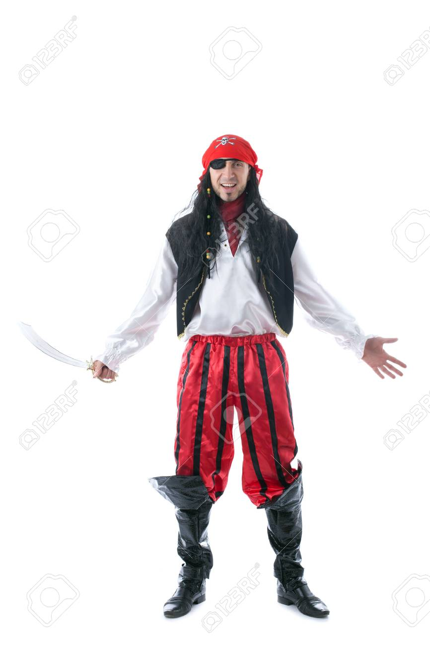 Cheerful man posing in pirate costume, isolated on white - 32702057
