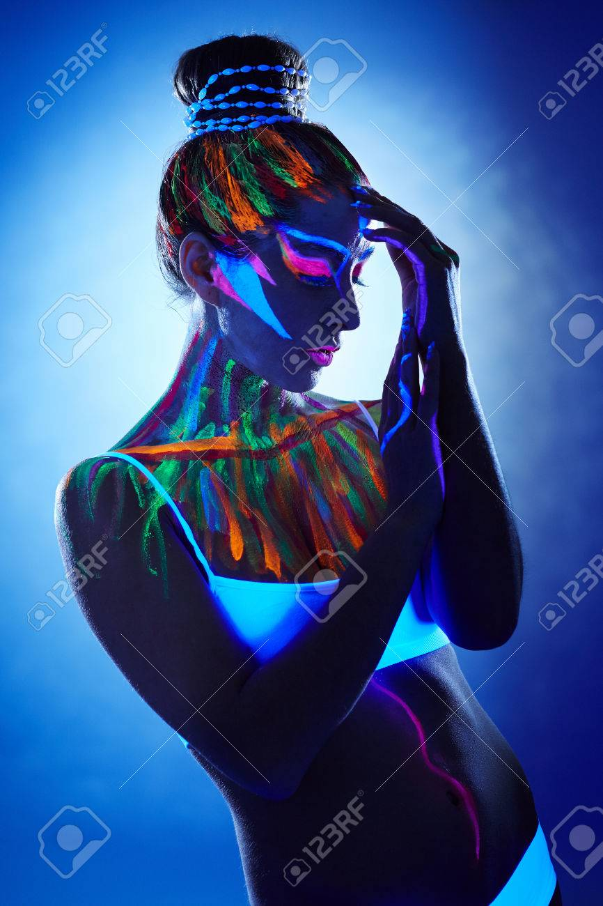Portrait Of Beautiful Girl With Creative Body Art Posing In Uv Stock Photo Picture And Royalty Free Image Image 36778063