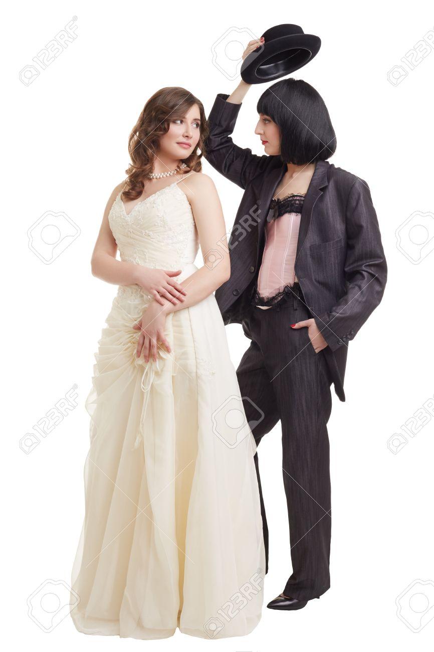 Concept Of Lesbian Wedding. Elegant Models Posing In Bridal Suits ...