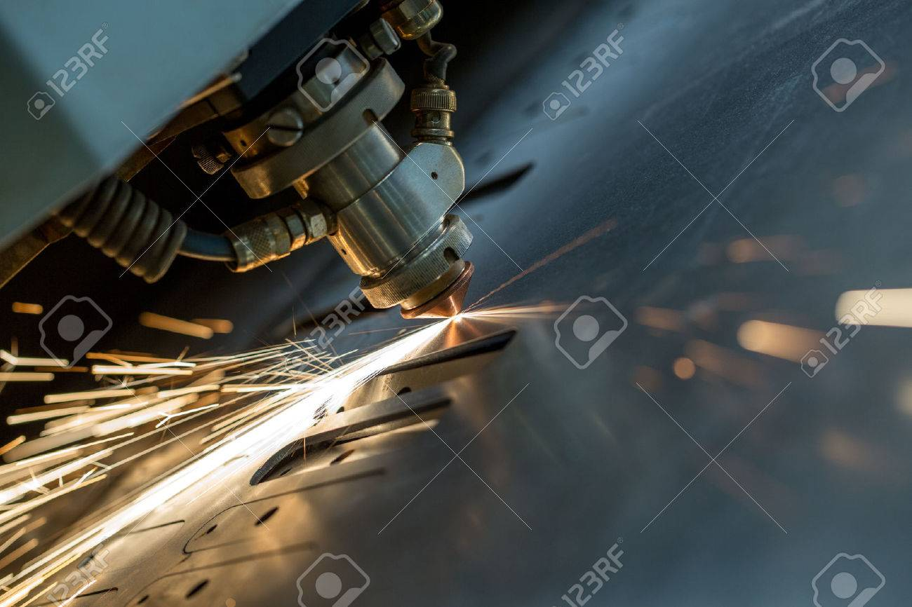 Image of laser cutting the metal sheet, close-up - 44434737