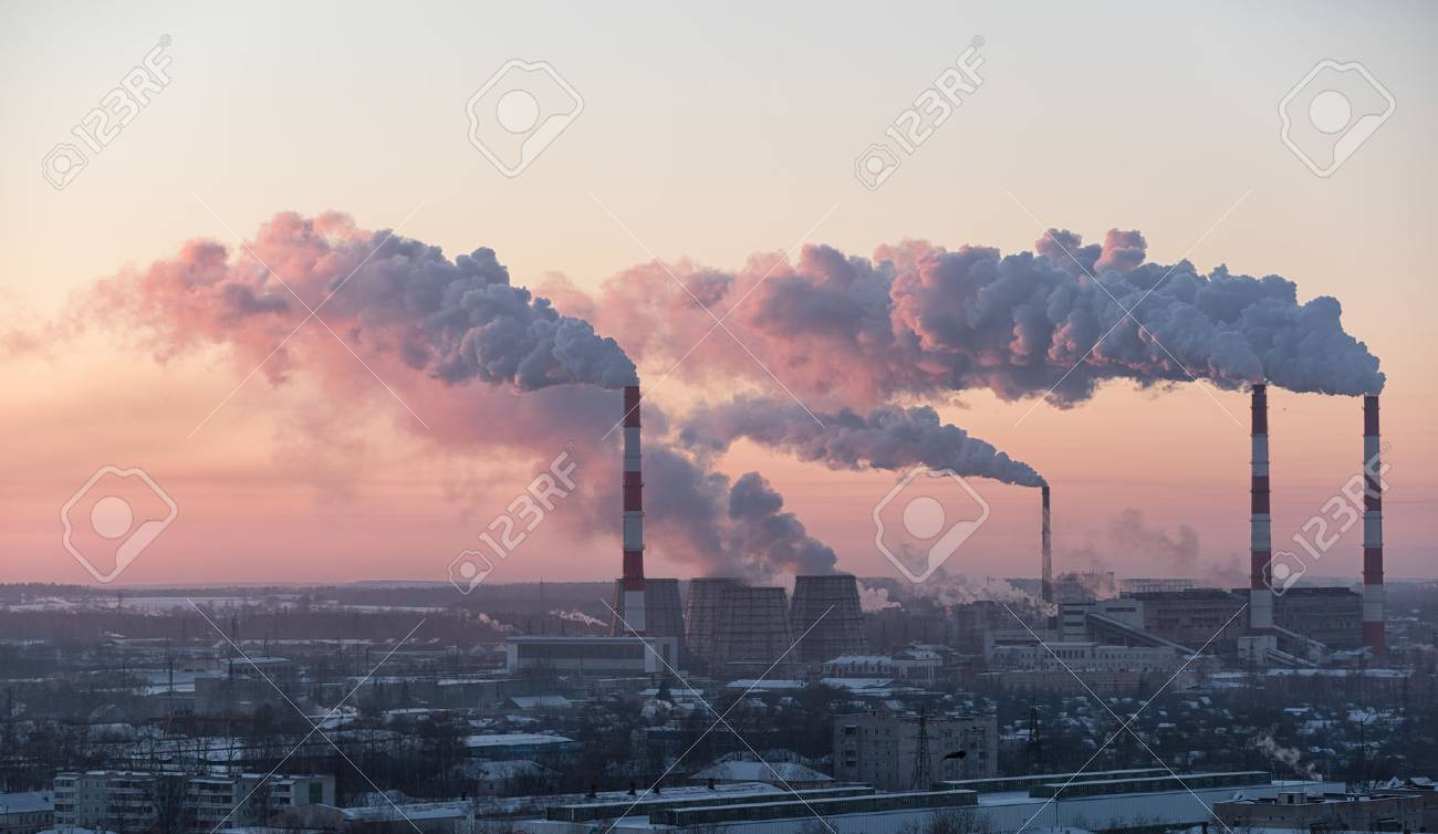 View of city's manufacturing sector in winter evening - 50555844