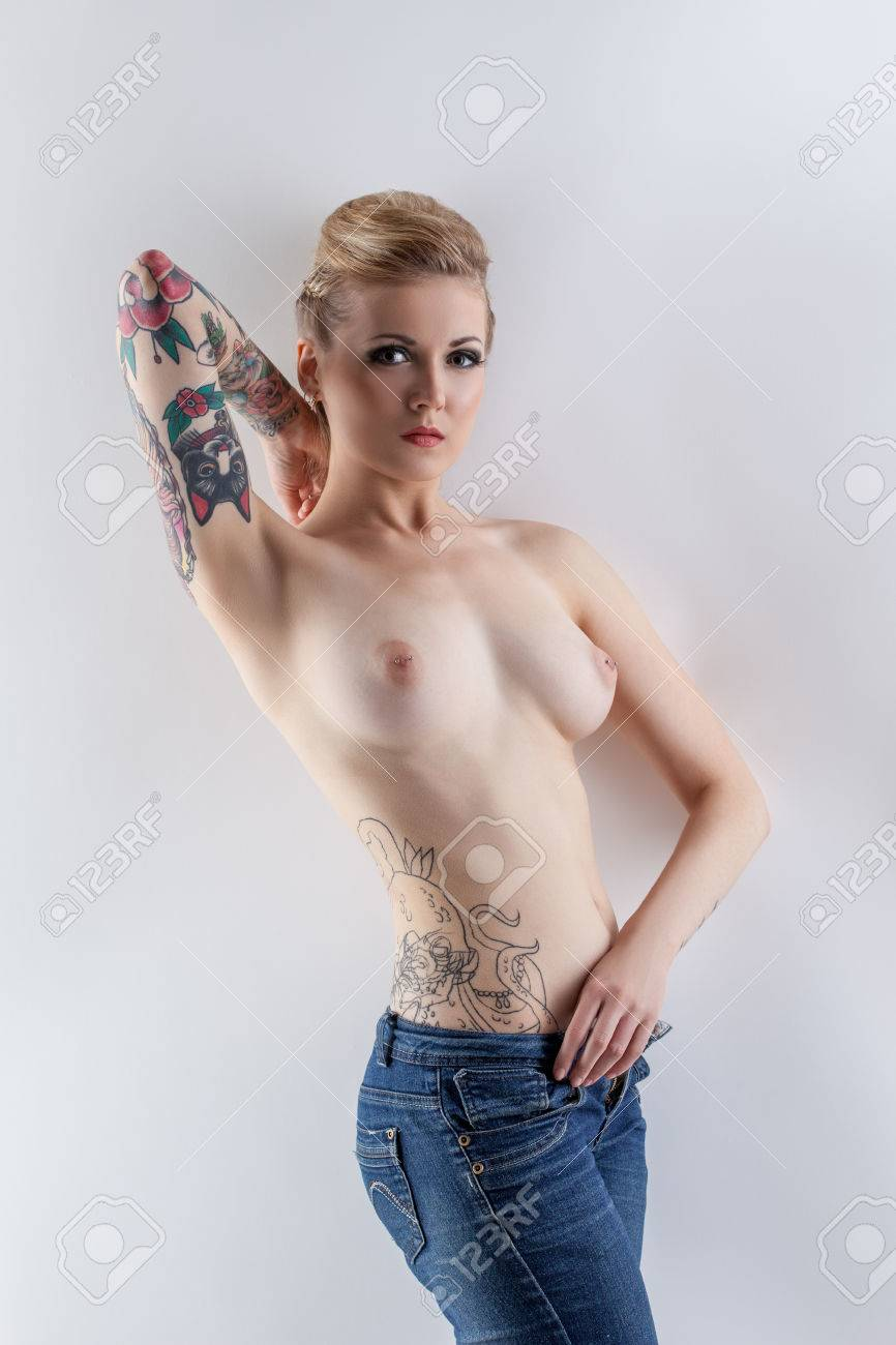 Topless girls with tattoos