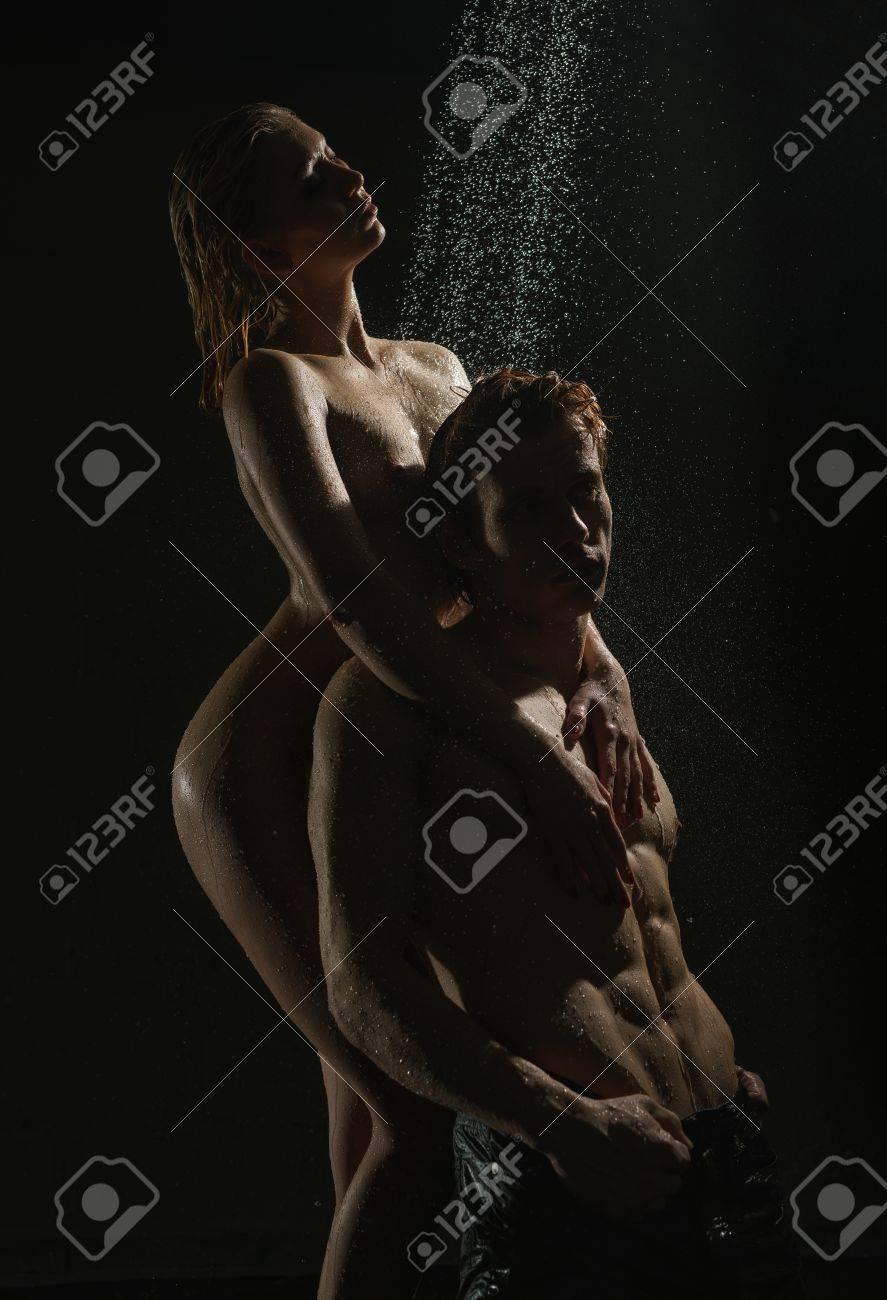 Passionate Couple Having Sex In Shower Studio Shot Stock Photo 81187205