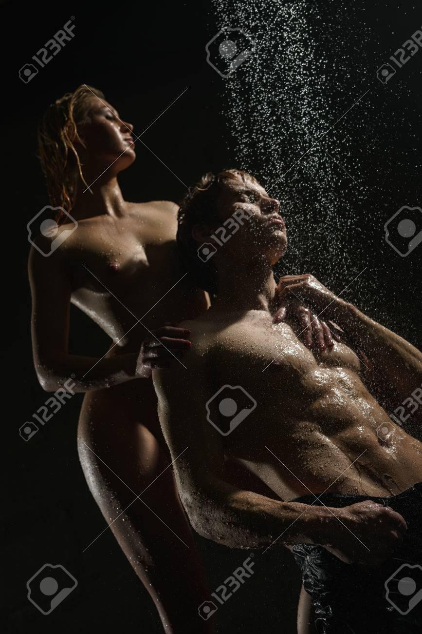 Passionate Couple Having Sex In Shower Studio Shot Stock Photo 81173286