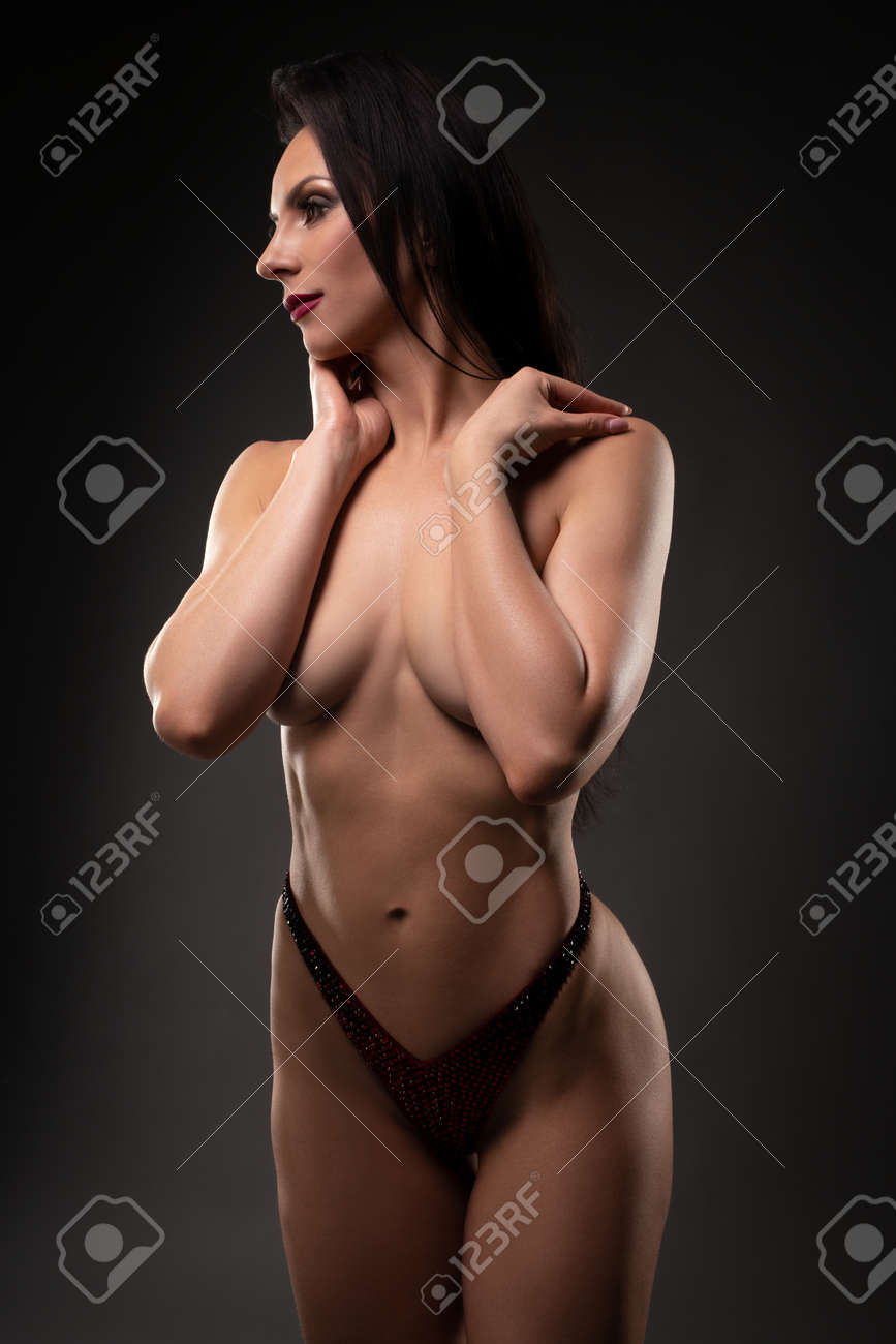Topless woman touching neck with closed eyes - 168137041