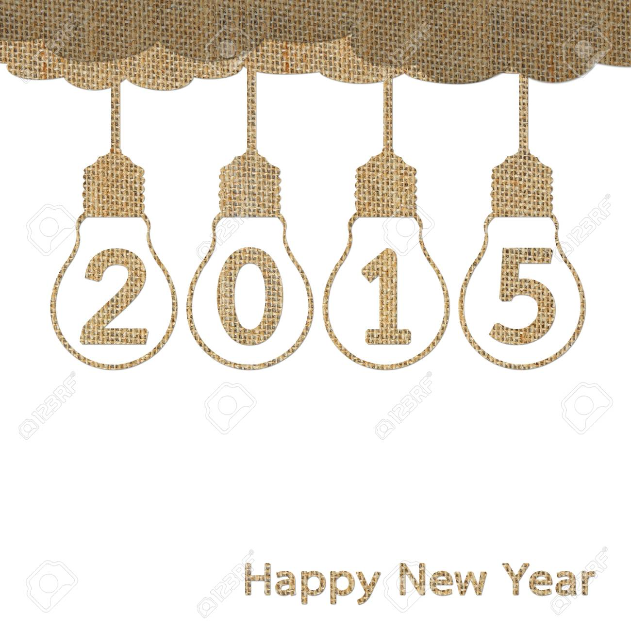 Burlap Happy New Year 2015 For Creative Greeting Card Design Stock