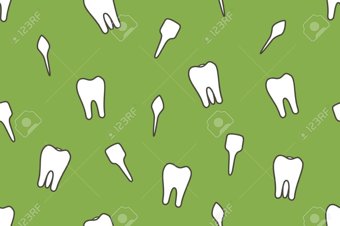 Dental-Vektor Nahtlose Muster - Zahn-Typ - Schneidezahn, Eckzahn ...