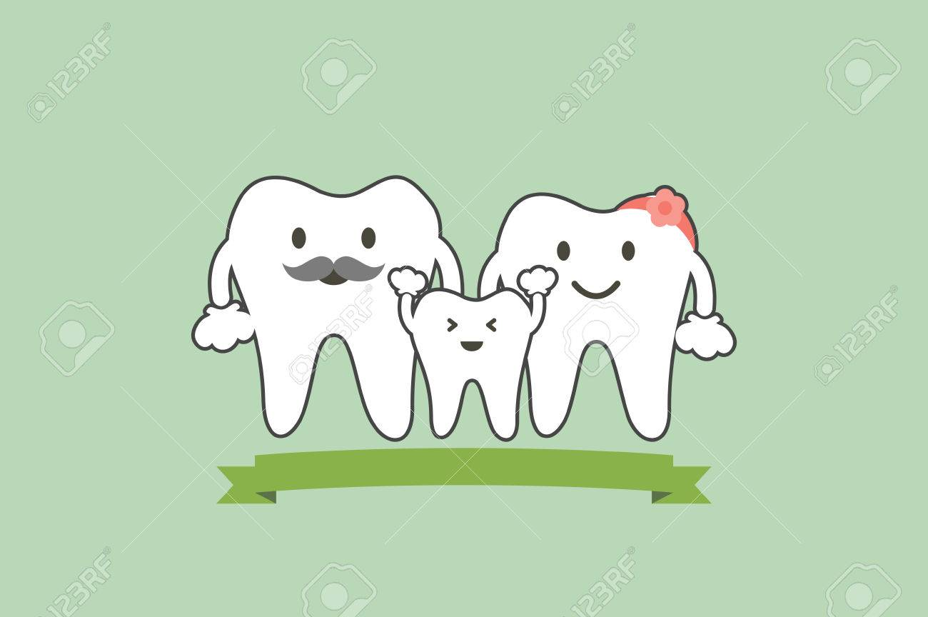 Tooth Cartoon Vector Flat Style For Design- Healthy Teeth Family ...