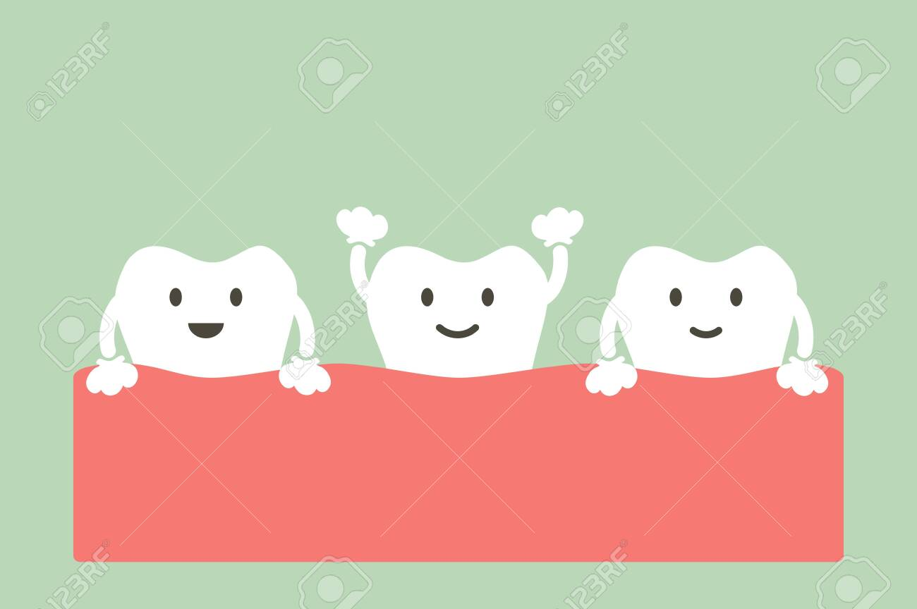 healthy tooth - dental cartoon vector flat style cute character for design - 124144825