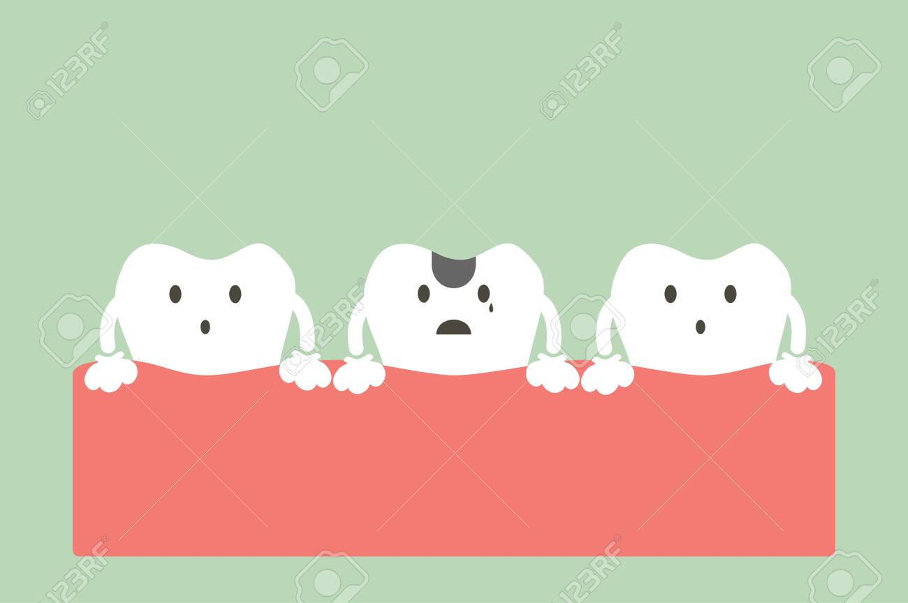 decay tooth or dental caries - teeth cartoon vector flat style cute character for design - 140507029